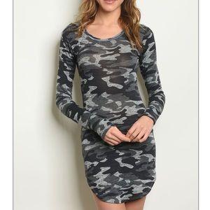 Gray camo tunic mini dress w/long sleeves